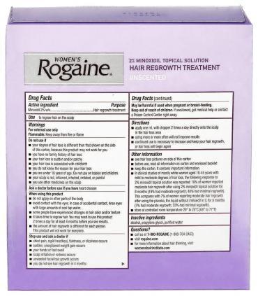На задней части упаковки Рогейна 2% (Rogaine 2%) приведены традиционные рекомендации по применению миноксидила.