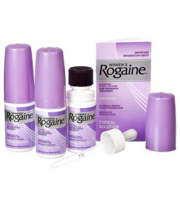 Каждая упаковка Рогейна 2% (Rogaine 2%) данной формы содержит 3 флакона по 60 мл миноксидила 2%, инструкцию и пипетку.