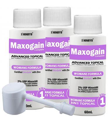 "Максогейн для женщин - Улучшенный состав ""3 в 1"" - Миноксидил 2% с блокаторами ДГТ - 3 фл х 60 мл [Maxogain Womens Advanced 3in1 - Minoxidil 2% with DHT-blockers (Zinc, 3%Thymiscon) and with 5% NTRFLA Follicle Nutrient - 3 bot х 60 мл]"