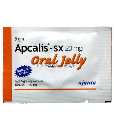 Фронтальный вид пакетика Апкалис (Apcalis) с тадалафилом (tadalafil) в виде желе. Вид и цвет пакетика зависит от вкуса желе.