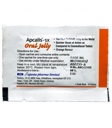 Обратная сторона пакетика Апкалис (Apcalis) с тадалафилом (tadalafil) в виде желе. Вид и цвет пакетика зависит от вкуса желе.