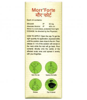Morr-Forte (Морр-Форте) миноксидил (minoxidil) 5% для лечения волос наносится на зону поредения с помощью пипетки.