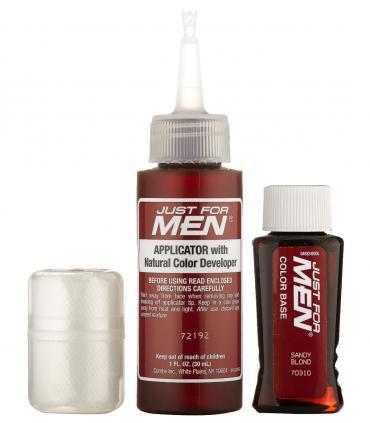В комплект мужских красок для волос Джаст фо Мен [Just for Men] входят перчатки, красящая основа и проявляющий краску лосьон.