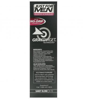 Боковая сторона упаковки Джаст фо Мен Сэнди Блонд (рыжевато-светлый) H-10 [Just for Men Sandy Blond H-10] - мужской краски.