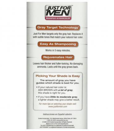 Обратная сторона упаковки Джаст фо Мен Эш Браун бледно-коричневый H-20 [Just for Men Ash Brown H-20] - мужской краски для волос.