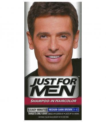 Джаст фо Мен Медиум-Дак Браун средне-темно-коричневый H-40 [Just for Men Medium-Dark Brown H-40] отлично скрывает седину