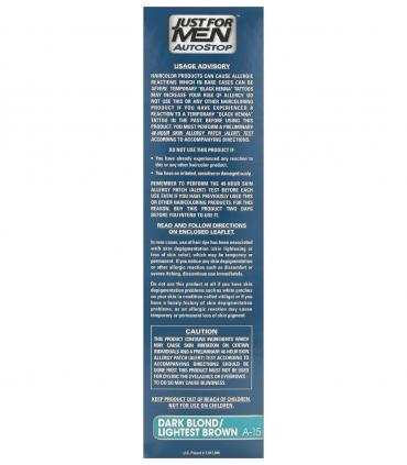 Рекомендации по применению Джаст фо Мен Автостоп темный блондин Дак Блонд A-15 [Just for Men AutoStop Dark Blond A-15]