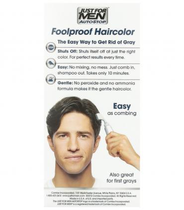 Применять Just for Men AutoStop Darkest Brown A-50 для скрытия седины так же просто, как расчесывать волосы
