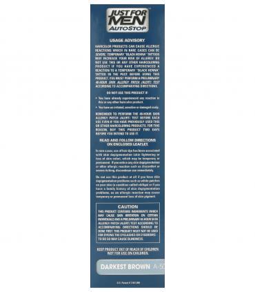 Рекомендации по применению Just for Men AutoStop Darkest Brown A-50 нанесены на боковую сторону упаковки