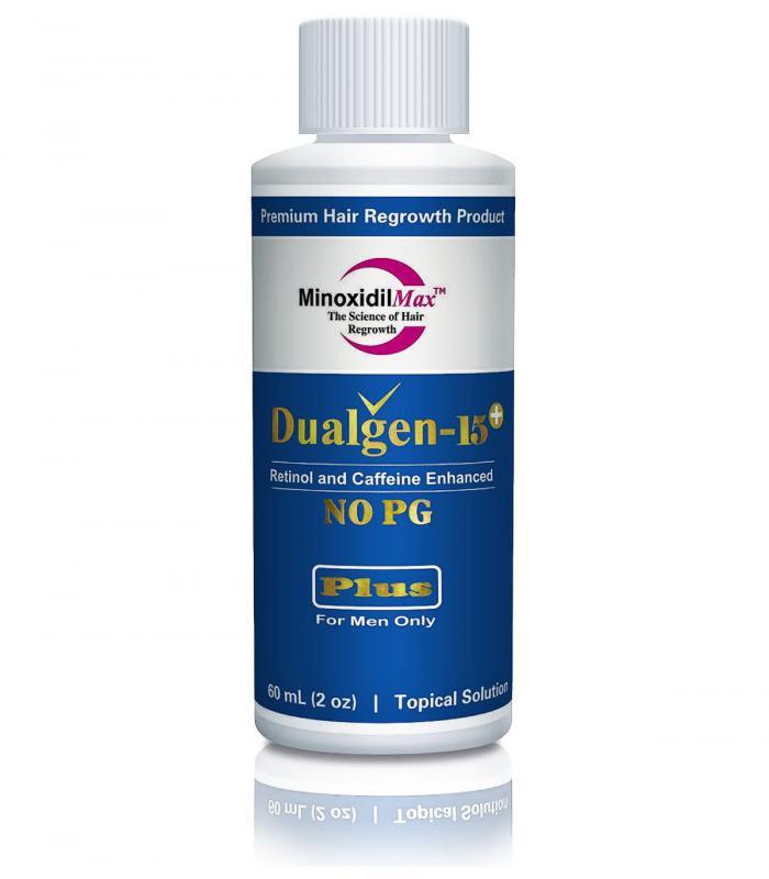 ДуалГен-15 Плюс без пропиленгликоля (15% миноксидил с 5% азелаовой кислотой и финастеридом 0,1%) [DualGen-15 Plus without Propylene glycol (15% minoxidil + 5% Azelaic + 0,1% Finasteride)]