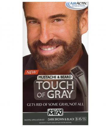 Джаст фо Мен Тач оф Грей - Краска-гель для бороды и усов темно-коричневая/черная B-45/55 [Just for Men Touch of Gray Mustache and Beard Dark Brown & Black B-45/55]