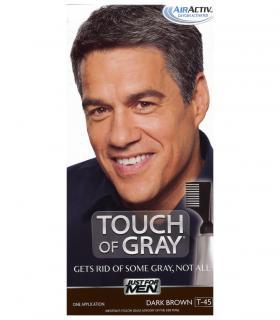 Джаст фо Мен Тач оф Грей Дак Браун темно-коричневый T-45 [Just For Men Touch of Grey Dark Brown-Gray] скрывает седину частично.