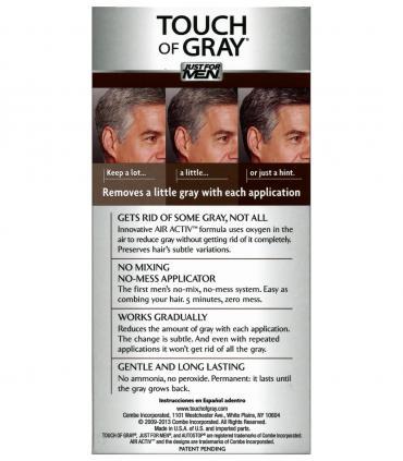 Обратная сторона упаковки Джаст фо Мен Тач оф Грей Дак Браун темно-коричневый T-45 [Just For Men Touch of Grey Dark Brown-Gray]