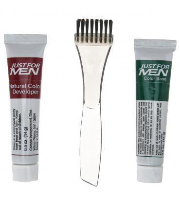 В упаковке Just for Men Mustache & Beard Light-Medium Brown M-30 Вы найдете щеточку и два компонента для приготовления краски.