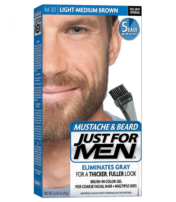 Джаст фо Мен - Краска-гель для бороды и усов светло-средне-коричневая Лайт-Медиум Браун M-30 [Just for Men Mustache & Beard Light-Medium Brown M-30]