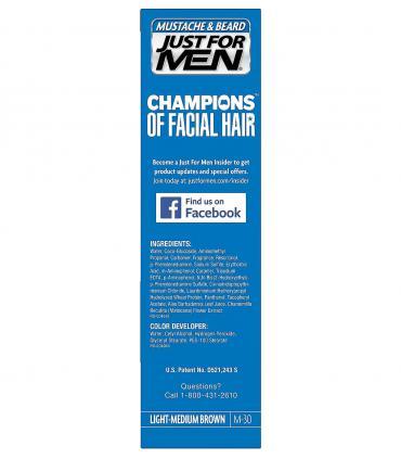 Состав красок для бороды и усов Just For Men Light-Medium Brown M-30 можно найти на упаковке.