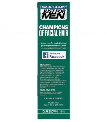 Состав красок для бороды и усов Just For Men Dark Brown M-45 можно найти на упаковке.