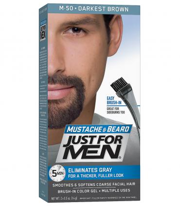 Джаст фо Мен - Краска-гель для бороды и усов темнейшая коричневая Дакест Браун M-50 [Just for Men Mustache & Beard Darkest Brown M-50]