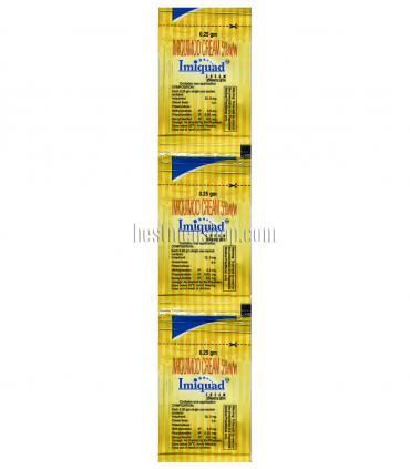 В упаковке Имиквада (Imiquad) находится три пакетика с кремом, содержащим  имиквимод.