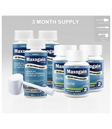 Максогейн - Полный комплекс на 3 месяца - Миноксидил 5% для мужчин с блокатором ДГТ 3 фл х 60 мл + 1 фл витаминов для волос 90 табл [Maxogain-Mens Complete Treatment System 3 month - Minoxidil 5% for men with DHT-blocker 3х60 мл + hair vitamines 90 tabs)]