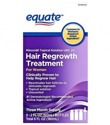 Миноксидил 2% Equate для восстановления роста волос женщин (МОЖНО И МУЖЧИНАМ) - Курс на 3 месяца лечения (3 фл x 60 мл) [Minoxidil 2% Equate Hair Regrowth Treatment for Women (3 bott x 60 ml)]