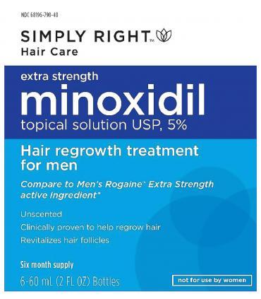 Упаковка Миноксидила 5% Симпли Райт [Minoxidil 5% Simply Right], в которых поставляются флаконы препарата.