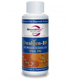 Дуалген10 (Dualgen-10) содержит 10%-ный миноксидил, который способен пробудить к росту волосы, не поддающиеся 5%-му миноксидилу